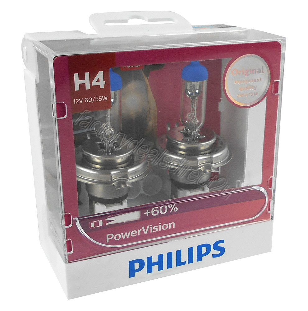 genuine philips power vision h4 globe 12v 60 55w p43t 38 twin pack philips. Black Bedroom Furniture Sets. Home Design Ideas