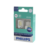 Genuine PHILIPS Ultinon White LED Stop Light Wedge Bulb 12V T20 W21/5W - Twin Pack