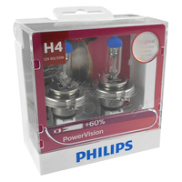 Genuine PHILIPS Power Vision H4 Globe 12V 60/55w P43t-38 - Twin Pack