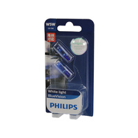 Genuine PHILIPS Blue Vision 4000K Parking Wedge Bulb T10 12V W5W - Twin Pack