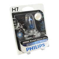 Genuine PHILIPS Motorcycle Blue Vision Headlight Bulb H7 12V 55W - Single Globe