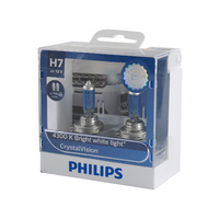 Genuine PHILIPS Crystal Vision Headlight H7 12V 55W T10 LED Parker - Twin Pack