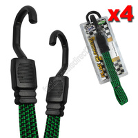 Flat Bungee Straps with Hooks 75cm Long x 18mm Wide - Pack of 4 Green